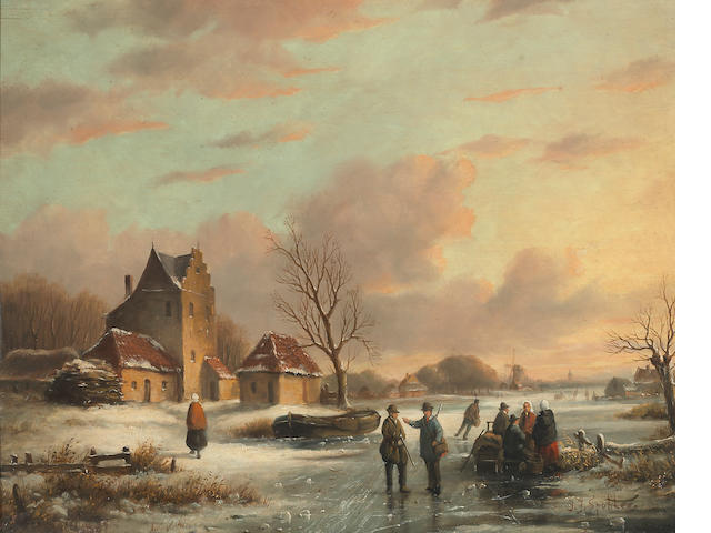 J.J. Spohler, Sunset landscape with skaters
