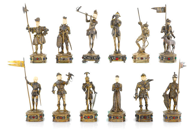 A set of twelve German sterling and ivory figures of knights