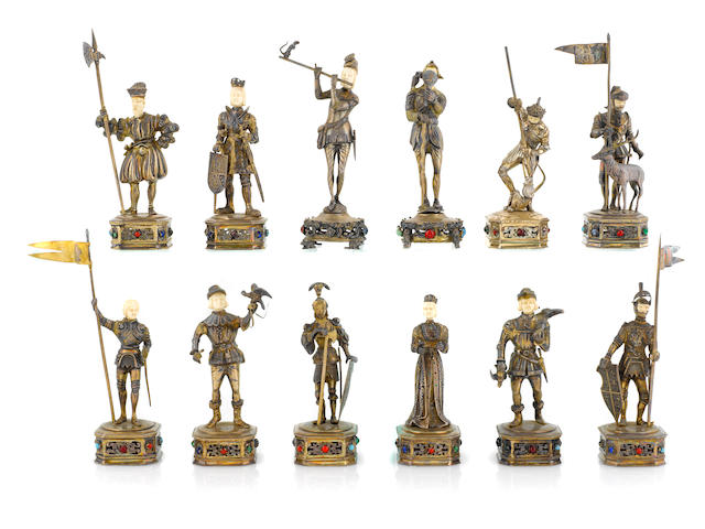 A set of twelve German  ivory-mounted sterling silver  historical figures  probably Hanau,  first half 20th century