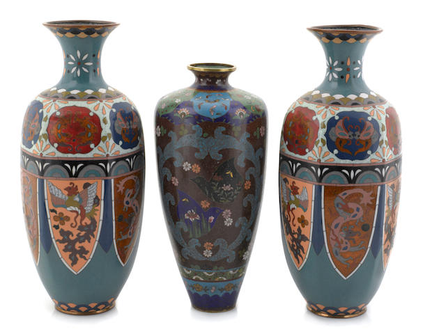 A group of three cloisonne vases