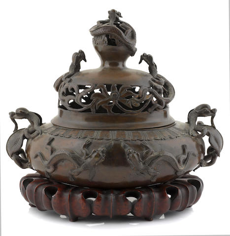 A bronze incense burner with dragons