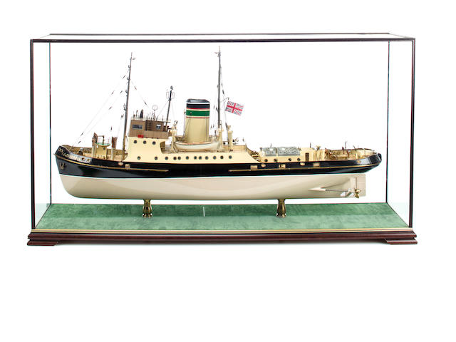 A scale model of the steam tug F.F. Sturrock<BR /> 20th century 38 x 20 x 9 1/2 in. (97 x 51 x 24 cm.) cased.