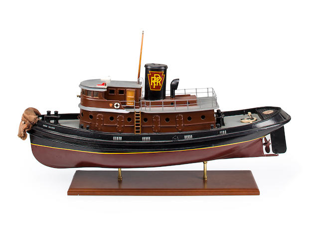 A scale model of the tug-boat Long Island 20th century 37 in. (94 cm.) length