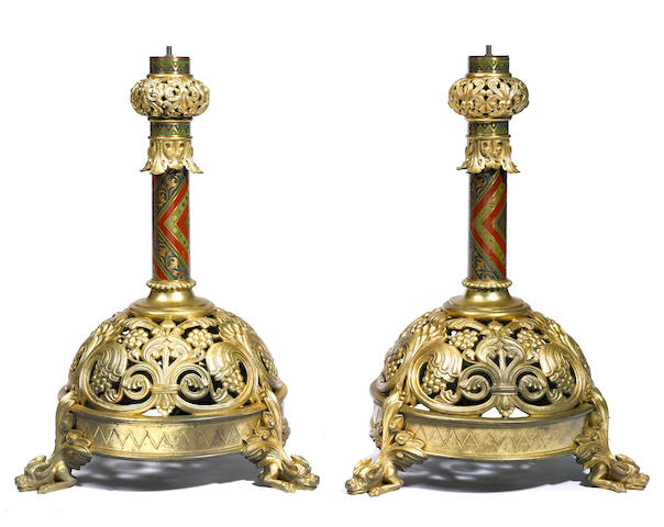 A pair of gilt metal lamp bases
