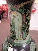 A porcelain baluster form vase with famille noire enamels Late 19th century