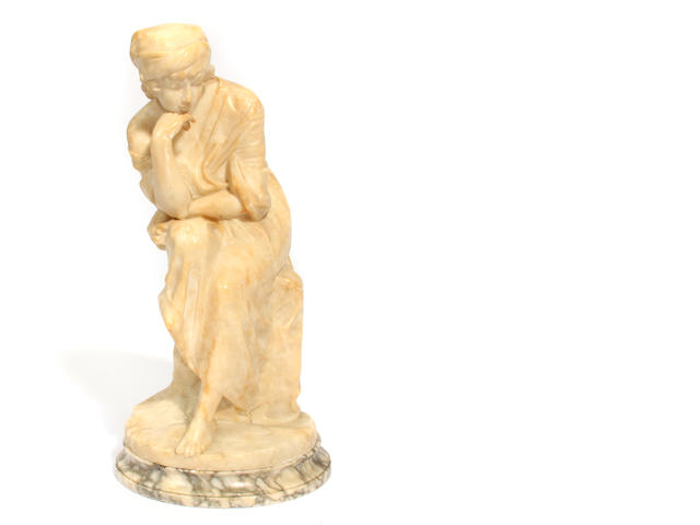 An Italian carved alabaster figure of a seated lady