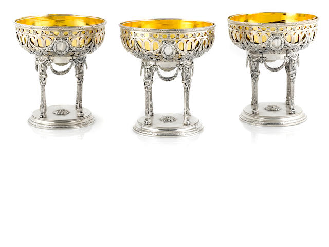 A set of three German silver compotes, with gilt-metal liners, Roth