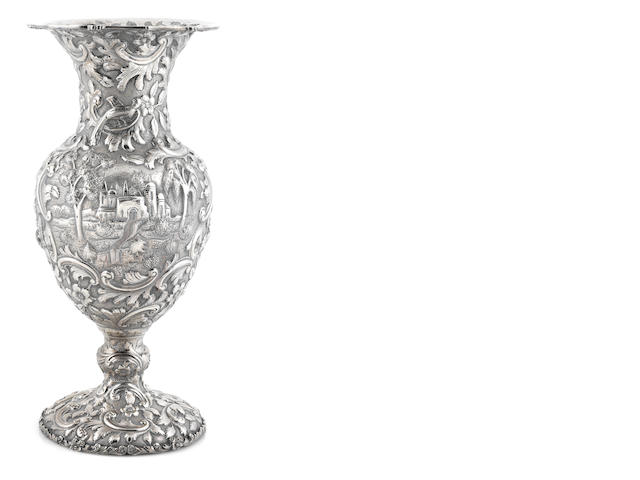 A Loring Andrews sterling silver Castle pattern vase