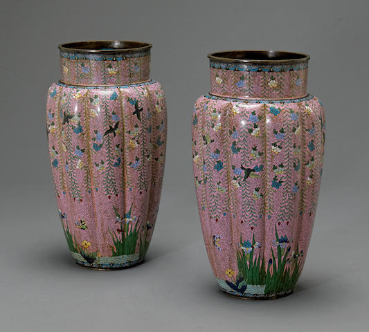 A pair of large cloisonné enamel vases<BR />Meiji period
