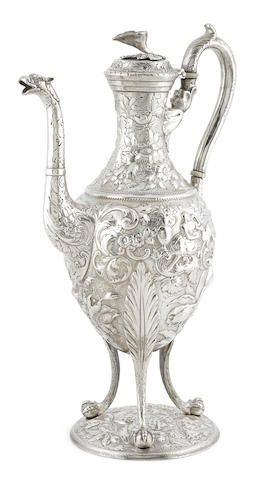 An American   silver foliate and floral repousse-decorated coffee pot by S. Kirk & Son, Baltimore,  second half 19th century