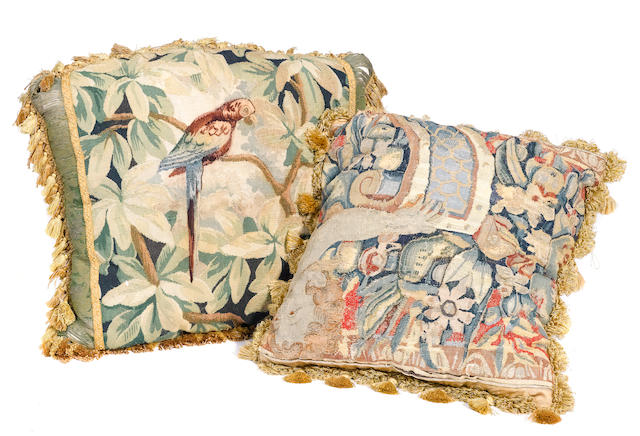 Two tapestry fragment pillows
