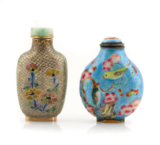 A group of two Chinese cloisonne enamel and glass snuff bottles