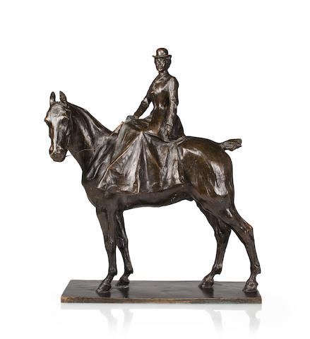 A patinated bronze sculpture of a woman on horseback<BR />after a model by Raffaelo Romanelli (Italian, 1856-1928)<BR />late 19th/early 20th century