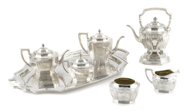An American  sterling silver  six piece tea and coffee service, with matching two-handled tray by Reed & Barton, Taunton, MA, early 20th century