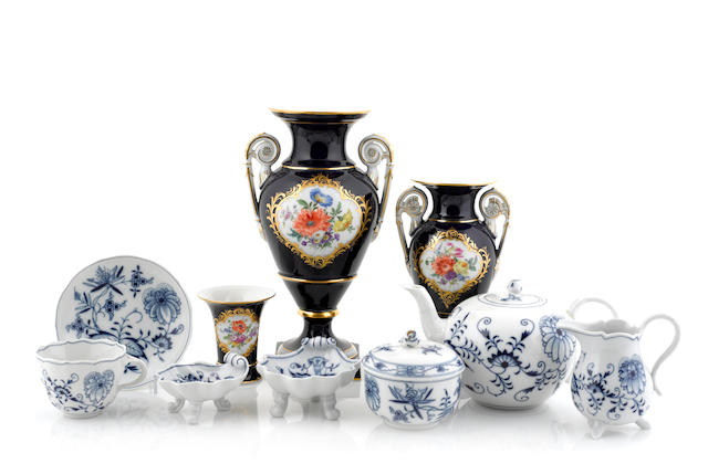 A Meissen porcelain part tea service in the Blue Onion pattern