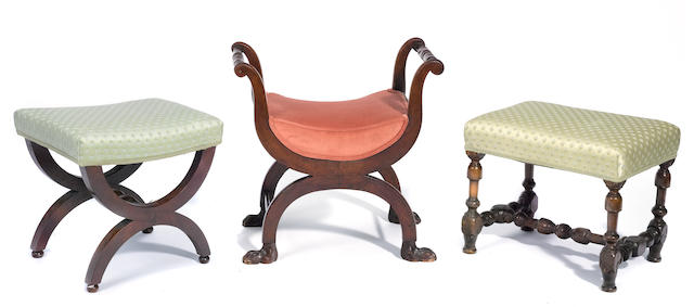 A group of three Continental upholstered mahogany and walnut stools