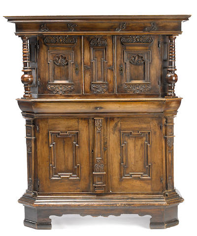 A Continental Baroque walnut cabinet possibly German fourth quarter 17th century