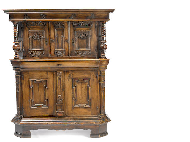 A Continental walnut side cabinet <BR />last quarter 17th century possibly German