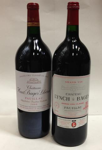 Château Lynch-Bages 1998 (1 magnum)<BR />Château Haut Bages Liberal 2000 (2 magnums)