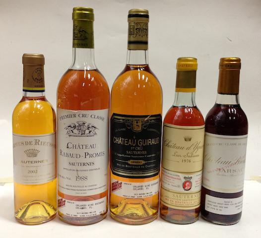 Château d'Yquem 1976 (1 half-bottle)<BR />Château Guiraud 1988 (1)<BR />Château Rabaud-Promis 1988 (1)<BR />Château Broustet 1986 (4 half-bottles)<BR />Carmes de Rieussec 2002 (1 half-bottle)