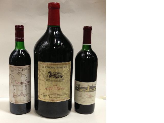 Duckhorn Cabernet Sauvignon 1984 (1 double-magnum)<BR />Dominus Estate 1984 (1)<BR />Robert Mondavi Reserve Cabernet Sauvignon 1985 (2)