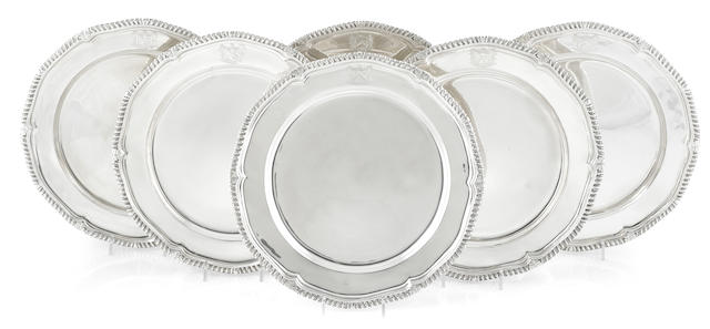 A set of six late George III sterling silver second course dishes, Paul Storr, London, 1808