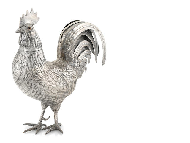 A Dutch silver cockerel table ornament