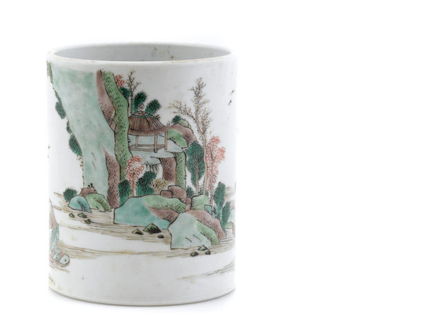 A Chinese vamille verte porcelain brush pot