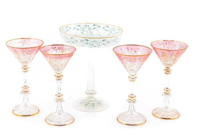 A set of nine Venetian wine goblets together with a compote