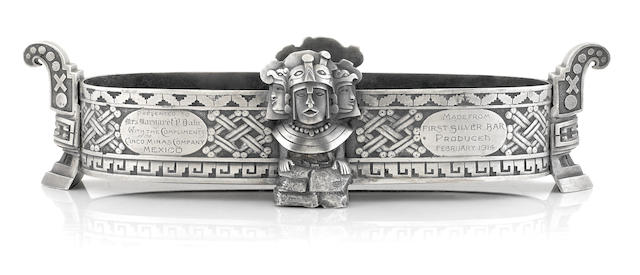A Mexican  silver  Aztec style mine commemorative center bowl signed R. S. Aguayo, Guadalajara,  first quarter 20th century