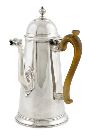 A Queen Anne Britannia standard silver coffee pot, Richard Watts, London, 1710