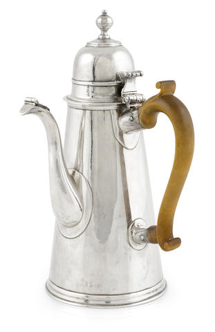 A Queen Anne  Britannia standard silver  coffee pot possibly by John Gibbons, London,  1706