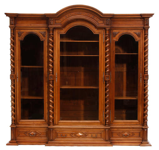 A North European Baroque style walnut bookcase