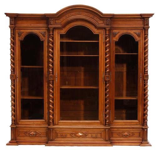 A North European Baroque style walnut bookcase