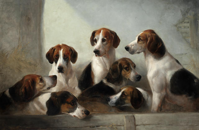Edward Robert Smythe (British, 1810-1899) Favorite hounds, the property E. Walter Greene Esq, Master of the Suffolk hounds  35 x 52 in. (89 x 132 cm.)
