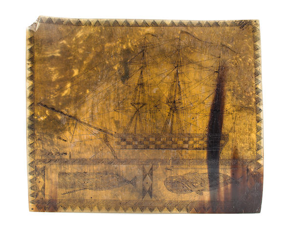 A scrimshaw carving of ship and whales<BR /> 5-1/4 x 6-1/4 in. (13.3 x 15.8 cm.)