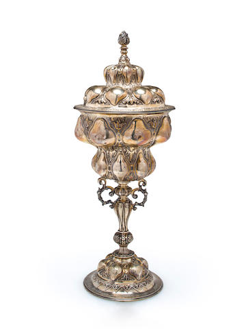 A sterling silver yachting trophy for the New York Yacht Club<BR /> circa 1909 13 x 5-1/4 in. (33 x 13.3 cm.) height x diameter.
