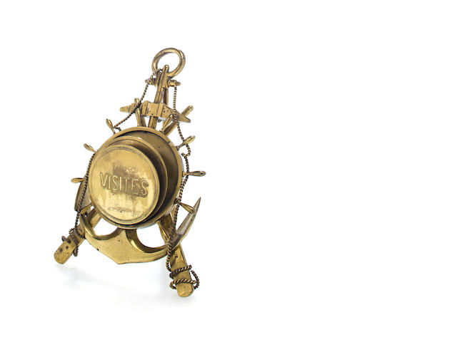 Brass letter holder with anchor and ship wheel