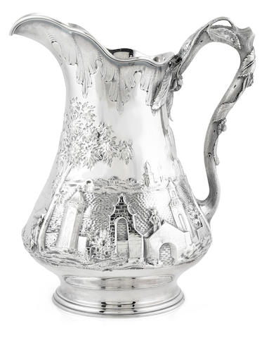 An American coin silver chinoiserie decorated presentation pitcher, Ball, Black & Co., New York