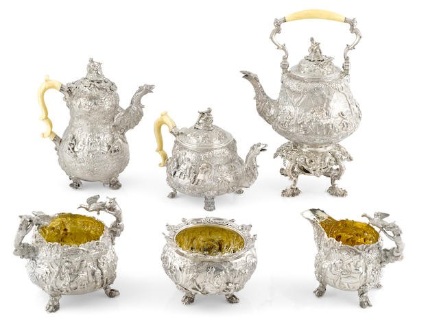 A Regency  sterling silver  five piece tea and coffee service by Edward Farrell, London,  1818