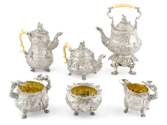 A Regency  sterling silver  five piece tea and coffee service by Edward Farrell, London,  1818