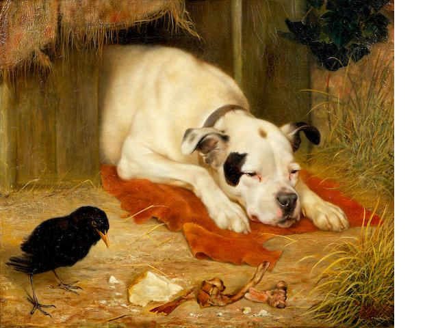 Herbert William Weekes (British, active 1864-1904) A bone of contention 18 x 22 in. (45.5 x 56 cm.)