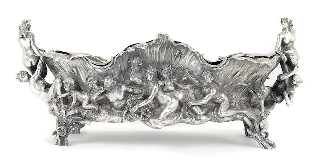 A German  800 standard silver  Art Nouveau figural oval centerbowl by Lazarus Posen Witwe, Berlin and Frankfurt,  circa 1900
