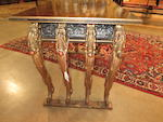 An Asian lacquered and gilt wood altar table with shell inlay and brass mounts late 19th century