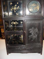 A pair of zitan, mixed wood and lacquer curio cabinets  Late Qing dynasty