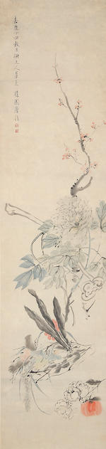 Tang Chun (active in 19th Century)Weng Luo (1790 - 1849) Flowers after Yuan Masters 1817