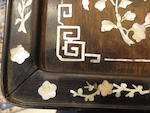 A hardwood tray with mother of pearl inlay Qing dynasty