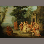 Circle of Louis Joseph Watteau, called Watteau de Lille (Valenciennes 1731-1798 Lille) The wedding party 18 3/4 x 25 1/2in