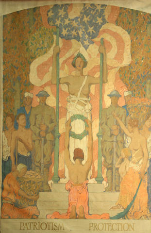 Follower of Pierre Puvis de Chavannes (French, 1824-1898) Studies for a mural (a group of three) first, 41 x 29in; second, 27 x 20in; third, 38 x 28 1/4in