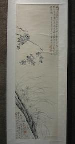 Attributed to Wang Shishen (1634-1711) Ink Camellia and Orchid